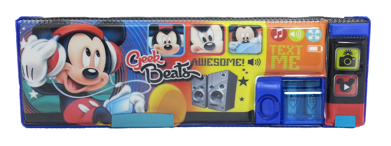 DISNEY MICKEY MOUSE GEEK BEATS MAGNETIC PENCIL CASE-8286
