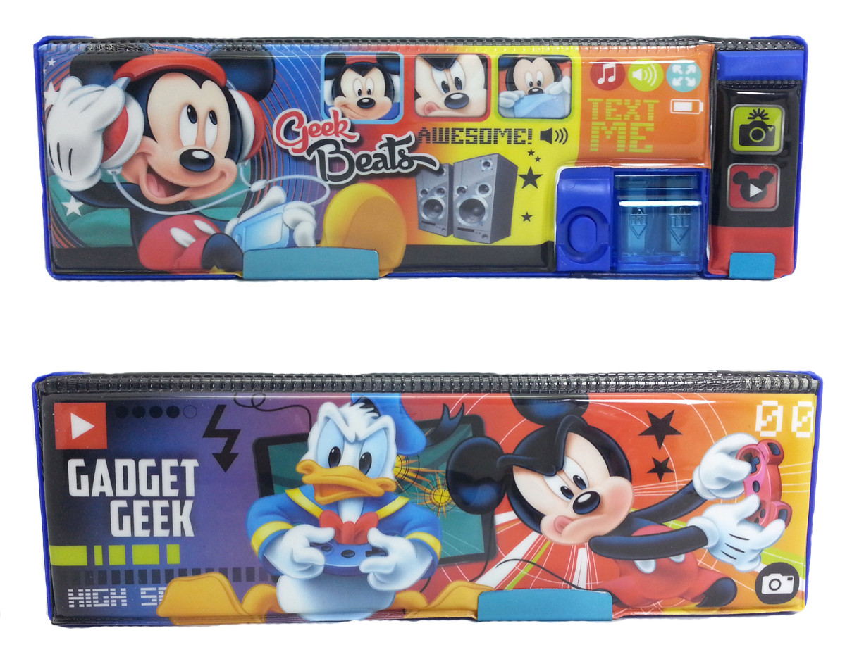DISNEY MICKEY MOUSE GEEK BEATS MAGNETIC PENCIL CASE-0