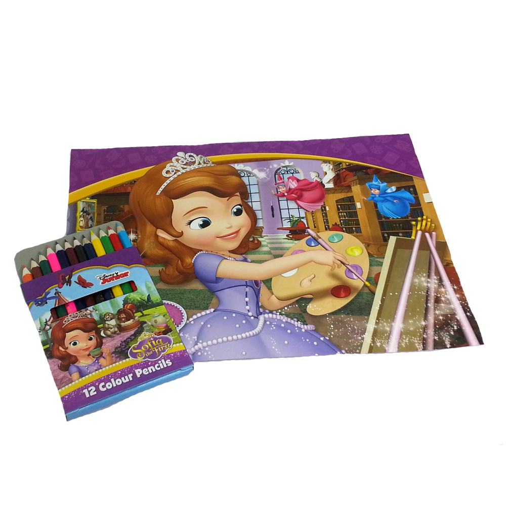 DISNEY SOFIA THE FIRST PAINTING GIRL COLOURING BOOK WITH COLOUR PENCILS SET-0