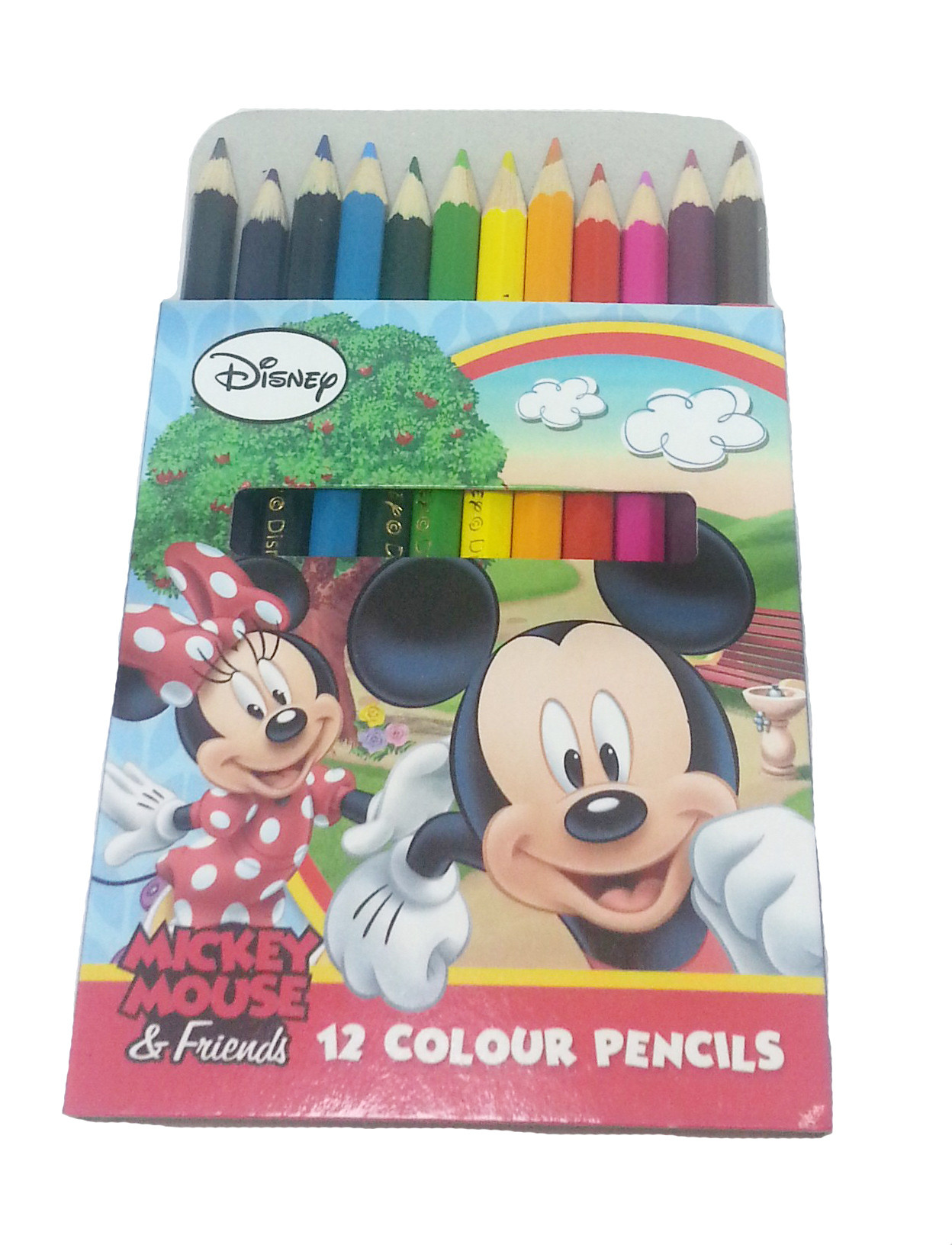 DISNEY MICKEY & FRIENDS RAINBOW 12 SHORT COLOUR PENCIL-0