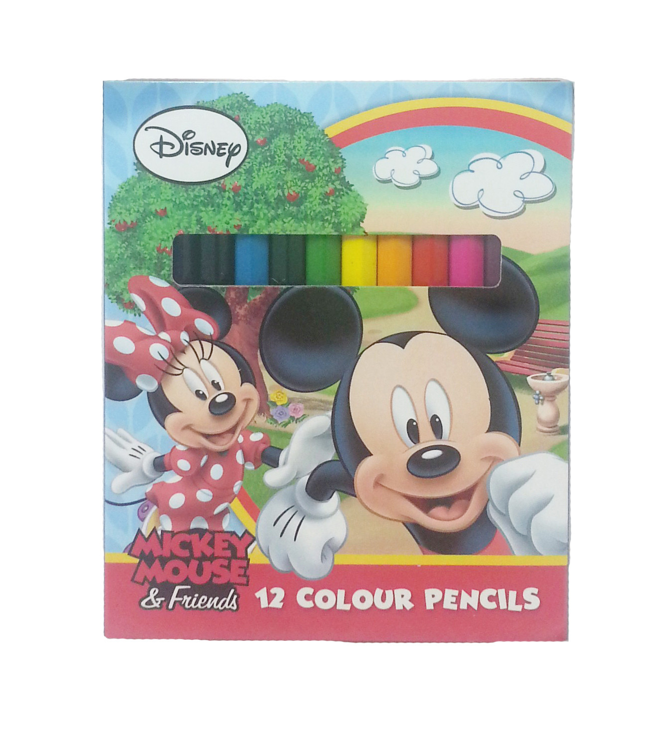 DISNEY MICKEY & FRIENDS RAINBOW 12 SHORT COLOUR PENCIL-9300