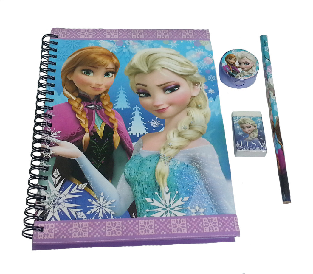 DISNEY FROZEN ANNA & ELSA A5 NOTE BOOK WITH STATIONERY SET -0