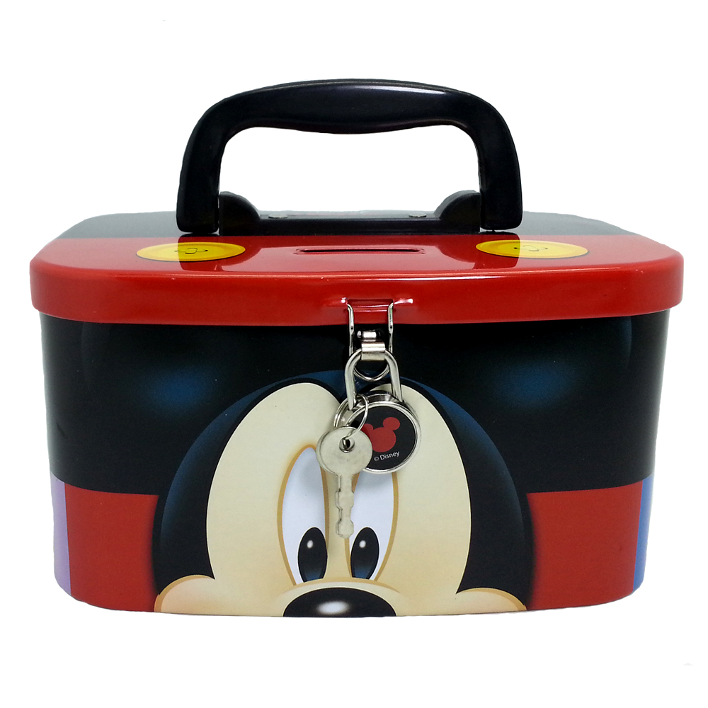 DISNEY MICKEY & FRIENDS HEAD COIN BANK WITH LOCK-0