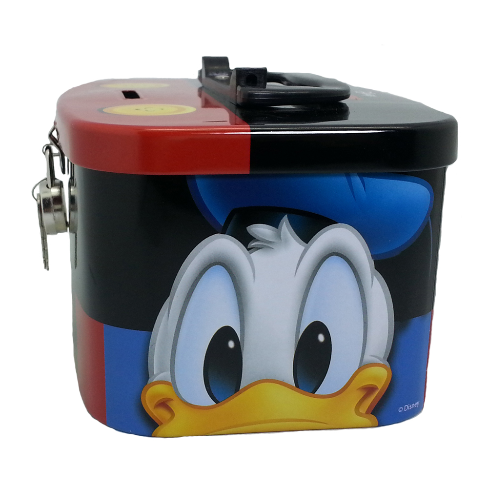 DISNEY MICKEY & FRIENDS HEAD COIN BANK WITH LOCK-11151