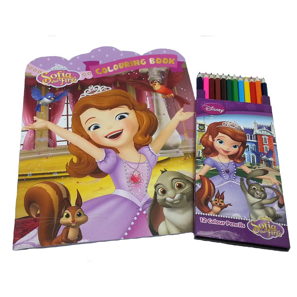 DISNEY SOFIA THE FIRST COLORING BOOK WITH 12 LONG COLOR PENCIL-0